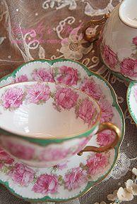 Haviland Limoge Rose Green Teacup & Saucer set