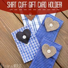 Muslin and Merlot: Upcycled Shirt Cuff Pouches! Fabric Crafts, Sewing Crafts, Sewing Projects, Scrap Fabric, Memory Pillows, Memory Quilts, Man Quilt, Shirt Cuff, Crafts To Make And Sell