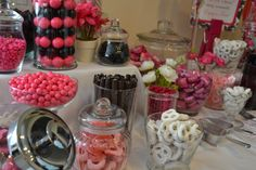 Candy Table.  I did this pink black and white theme for my best friends baby shower.
