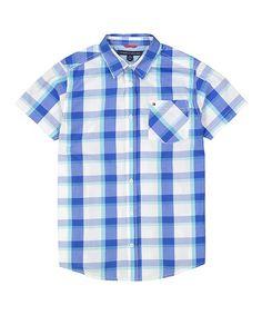 Love this White & Blue Plaid Schooner Button-Up - Boys on #zulily! #zulilyfinds