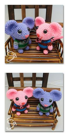 Ravelry: koko rat pattern by Lis Chaong - Crochet - Amigurumi Crochet Mouse, Love Crochet, Crochet Dolls, Knit Crochet, Crochet Crafts, Yarn Crafts, Crochet Projects, Amigurumi Doll, Amigurumi Patterns