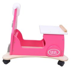 New Hessie 4 wheeled wooden Motor Toy Sturdy construction Kids Baby Gift Pink