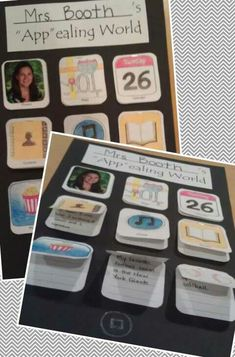 "My September Bulletin Board - ""App""ealing All About Me iPad Poster. O somehow want to make this into a beginning of the year project for students. 1st Day Of School, Beginning Of The School Year, School Fun, School 2017, School Holidays, All About Me Activities, Back To School Activities, Fun Activities, Classroom Displays"