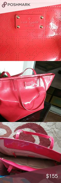 """BRAND NEW """"Kate Spade"""" Metro Patent Perfect Purse! """"Kate Spade""""  BRAND NEW NEVER USED !!  JUST RECEIVED !!!!  ABSOLUTELY, THIS IS ONE OF THE FINEST KATE SPADE LG SZ TOTE PURSES FOR ALL YOUR NEEDS !! IT HAS ALL PREFORATED HEARTS ALL THROUGHOUT THE EXTERIOR IN LIPSTICK RED THAT'LL COMPLIMENT ALL ATTIRE. LG ZIPPERED DEEP POCKET & OTHER SIDE 2 DEEP OPEN POCKETS TO HOLD YOUR  PHONE, KEYS, CARDS ETC-THE INNER LINING IS STUNNING, IN BEAUTIFUL BEIGE/TAUPE w/ a LIGHT SATIN FINISH & KATE'S SIG NY LOGO…"""