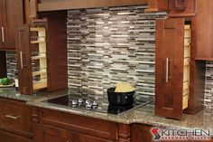 Our ready to assemble cabinets also have accessories like pull-out spice racks available.