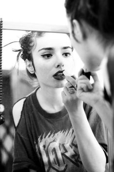 applying makeup is a good time to affirm...ac/dc, black and white, girl, lipstick, makeup
