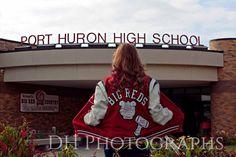 Port Huron Senior Portraits, senior picture ideas, senior inspiration, senior photos by DH Photographs | www.dhphotographs.com Keywords: letterman jacket, school, 2015, class of