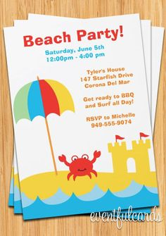 Beach Party Invitation by eventfulcards on Etsy, $15.99