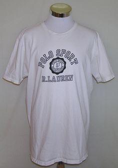 Polo Sport Ralph Lauren Vintage 90's White Logo Short Sleeve T-Shirt Size XL #PoloSport #GraphicTee