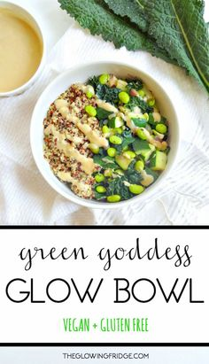 The 'Green Goddess Glow Bowl' ▲▼ ready in 20 minutes! vegan + gluten free, a protein packed healthy recipe with a savory tahini lemon dressing. lean, clean and green! from The Glowing Fridge