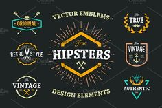 True Hipster Vector Set by Vecster on @creativemarket