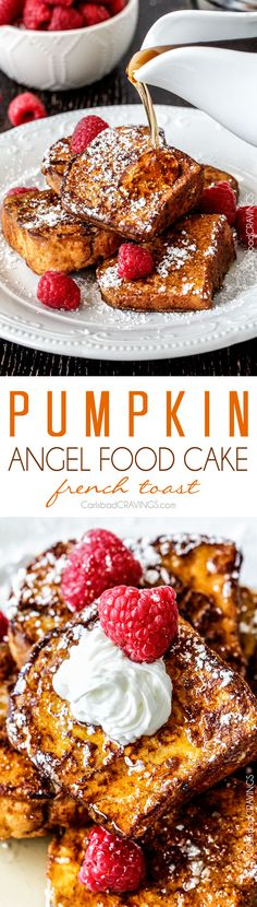 BEST Pumpkin French Toast Ever! Angel food Cake French toast dipped in Pumpkin batter - the perfect texture of toasted on the outside, light, airy and slightly sweet Fall cake heaven on the inside.