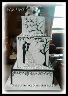 Black and White Blossom Pearl Square Wedding Cake by Keyk Cakes. Great silhouette illustration theme for a black and white cake. Gorgeous Cakes, Pretty Cakes, Cute Cakes, Black White Cakes, Black And White Wedding Cake, Extravagant Wedding Cakes, Amazing Wedding Cakes, Amazing Cakes, Square Wedding Cakes