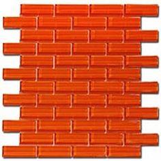 Glass Crystile Series 1x3 Orange Burst Tile www.arcstoneandtile.com