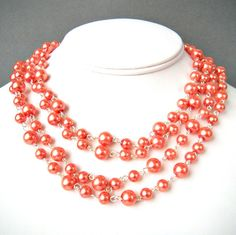 Coral pearls - 62 inch necklace