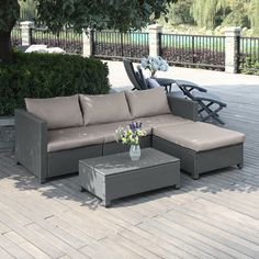 Lachesis 5 Piece Rattan Sectional Set with Cushions