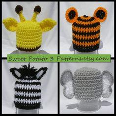 PATTERN Zoo Animal Hats & Capes Crochet by SweetPotato3Patterns