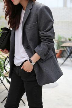 Shop from the best fashion sites and get inspiration from the latest winter outfits boyfriend coat. Blazer Outfits Casual, Blazer Fashion, Fashion Outfits, Fashion Weeks, Jean Outfits, Work Outfits, Style Work, My Style, Working Girl