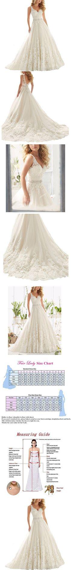 Fair Lady Women's Double V-Neck Lace Applique Empire Chapel Train Wedding Dress White 8