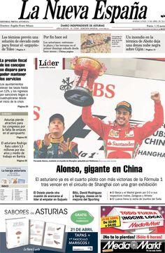 Los Titulares y Portadas de Noticias Destacadas Españolas del 15 de Abril de 2013 del Diario La Nueva España ¿Que le parecio esta Portada de este Diario Español?