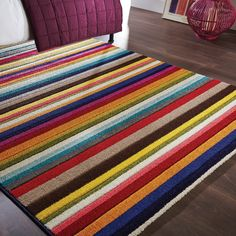 Spectrum Tango Rugs Multi Coloured Modern Contemporary Striped Rug and Runner Tango, Contemporary Rugs, Modern Rugs, Striped Rug, Colorful Rugs, Multicoloured Rugs, Centre Pieces, Stripes Design, Rugs On Carpet