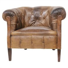 Leather Tufted Tub Chair England 1930's