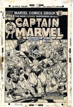 Cover to Captain Marvel 31 by Jim Starlin and Al Milgrom. Mar-Vell's face was redrawn by John Romita.