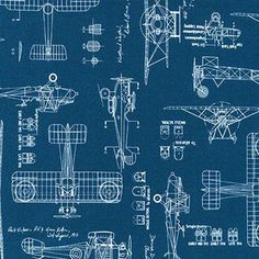Savannah Lockie - Vintage Blueprints - Aircraft in Indigo This would be cool curtains for Geno's top bunk bed space.