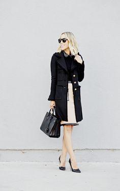 st john collection milano knit coat, anjelica skirt, mackenzie leather sweater, saint laurent sac de jour bag, prada d'orsay pump.