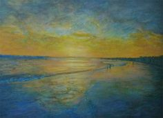Playa iluminada - técnica mixta #sealandscape #painting #buenosaires