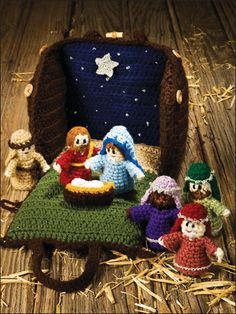 Nativity Set & Carrying Case Crochet Pattern This nativity set is meant to be played with, but would also make a darling decoration for the Holidays! Size when complete: Stable: x x Nativity Dolls: Tall Skill Level: . Christmas Nativity, Noel Christmas, Christmas Crafts, Christmas Ornaments, Christmas Patterns, Christmas Decorations, Crochet Crafts, Crochet Toys, Crochet Projects