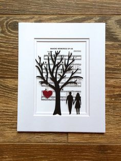Personalized Anniversary or Wedding Gift - 3D Paper Tree & Hearts on Sheet Music - 1st Anniversary Gift- Paper Anniversary- First Dance Song