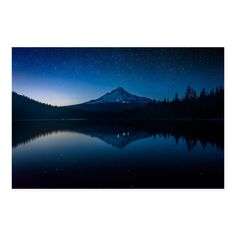 Noir Gallery Stars Over Mount Hood and Trillium Lake at