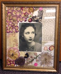 I had this idea to make a photo matte look like a scrapbook page to honor my grandmother who recently passed away. It has the pressed flowers from her spray, a feather and photo from the doves released at the funeral and a section of her funeral program and more. This is the finished product.