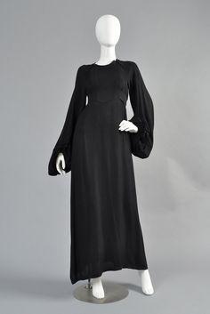 Ossie Clark Moss Crepe Blouson Sleeve Evening Gown | BUSTOWN MODERN