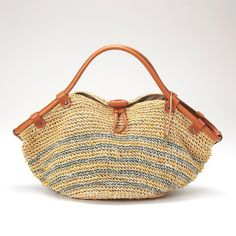 crochet - bag with leather handles - just beautiful