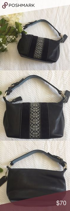 7757669eed1e Coach Small Mini Purse Black leather purse in excellent condition.  Monogrammed cloth stripe with two. Mini PurseMini BagsSuede ...