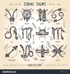 Set of hippie and bohemian style hand drawn zodiac signs. With decorative indian… Set of hippie and bohemian style hand drawn zodiac signs. With decorative indian and boho elements: arrows, feathers, indian ornament. Body Art Tattoos, New Tattoos, Small Tattoos, Boho Tattoos, Tatoos, Bohemian Tattoo Ideas, Irish Tattoos, Hippie Bohemian, Bohemian Style
