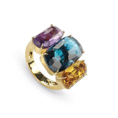 Marco Bicego amethyst, London Blue topaz and citrine cocktail ring. Discover the birthstone jewellery of November with a cool icy blue hue: http://www.thejewelleryeditor.com/jewellery/top-5/top-5-blue-topaz-jewellery-november-birthstone/ #jewelry