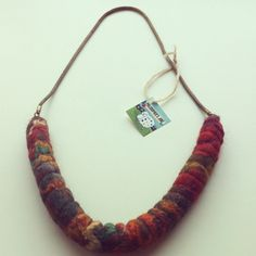 Woods shibori felt necklace.