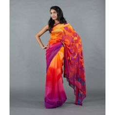 Digital Print Saree with Sequined Blouse by Satya Paul