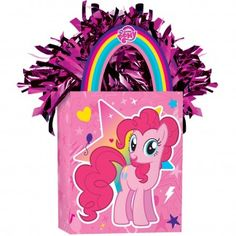 My Little Pony balloon weight.Complete your My Little Pony balloon arrangements with this pretty My Little Pony balloon weight.This cute balloon weight is in the form of a mini gift bag and features beautiful illustrations of Pinkie Pie on one side and Twilight Sparkle on the reverse side.Weight measures 7.5cm x 14cm including handles.Perfect for a My Little Pony party, just tie some helium inflated balloons to the gift bag's handles and use as centrepiece on your party table.