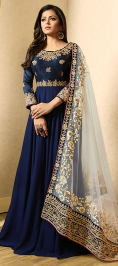 1508733: Bollywood Blue color Salwar Kameez in Bangalore Silk, Georgette fabric with Abaya, Anarkali Embroidered, Thread, Zari work