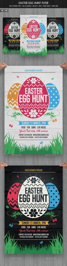 Easter Egg Hunt Flyer — Photoshop PSD #easter poster #white • Available here → https://graphicriver.net/item/easter-egg-hunt-flyer/14903140?ref=pxcr