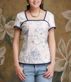 Blue Flowers Blue Lining Linen Tank par zeniche sur Etsy, $44.00