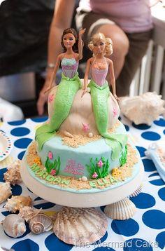 Mermaid cake - homemade marshmallow fondant, almond/vanilla homemade icing, vanilla oreo sand, and 2 Barbie Ballerina dolls wrapped in plastic wrap.#Repin By:Pinterest++ for iPad#