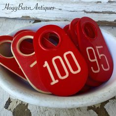 Theses super cute RED vintage Cow Tags make awesome Christmas gift tags for your holiday gifts. Check them and others out in our shop! Hogg Barn Antiques