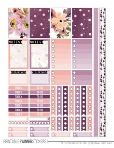 Free Perfectly Purple Happy Planner Printable Sticker set. Includes two pages of purple floral planner stickers that are not only beautiful but also fully functional.