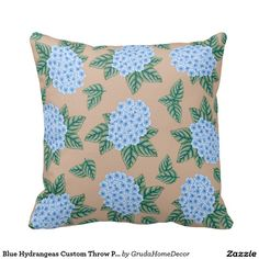 Blue Hydrangeas Custom Throw Pillow