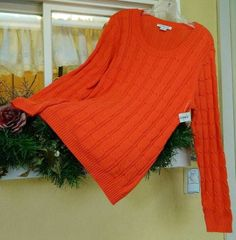 Liz Claiborne Scoop Neck Cable Knit Sweater L or XL NWT Tigerlilly Orange